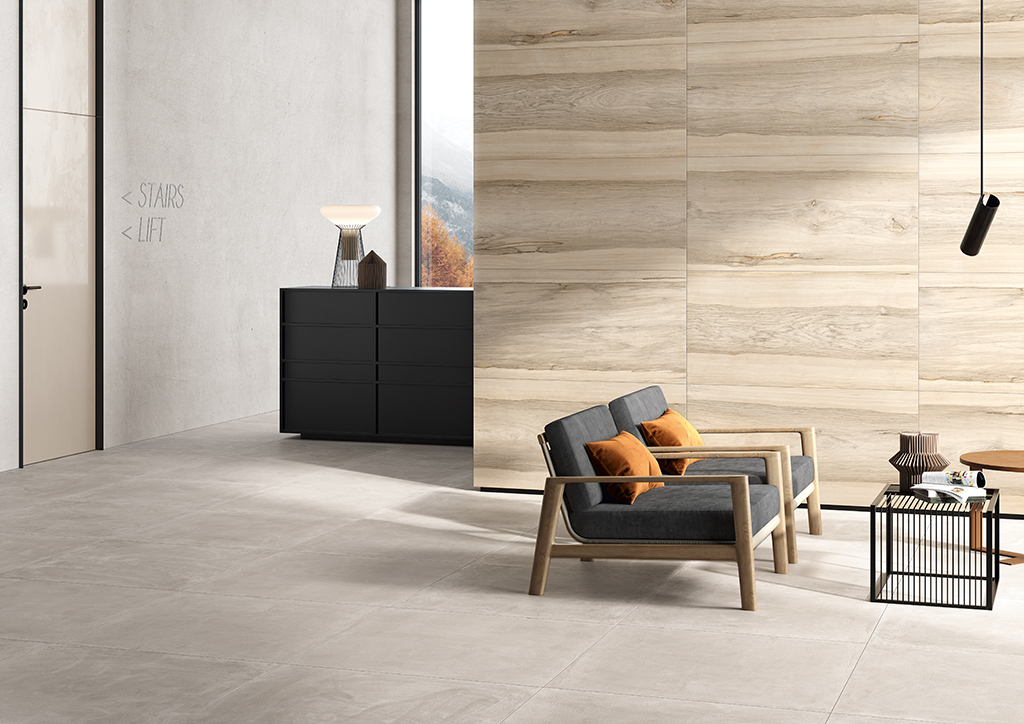 Ceramica-Fioranese_Sfrido_Fraké-Avorio-60x120_Cemento2-Greige-90x90