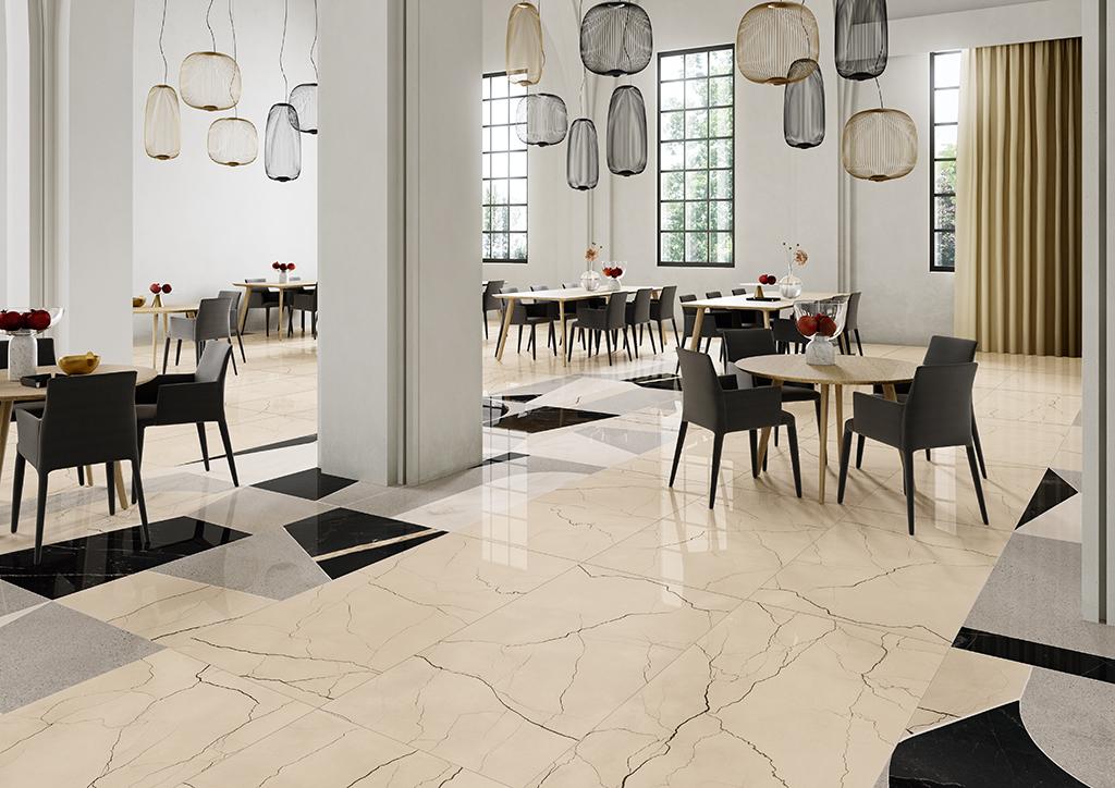 Ceramica-Fioranese_Sound-of-Marbles_Beige-Antico-74x148-Lev_FioMood-Nero-74x148-Lev_1
