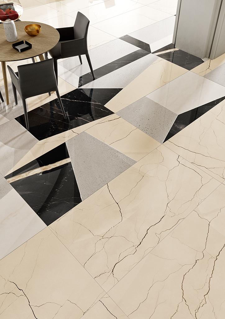 Ceramica-Fioranese_Sound-of-Marbles_Beige-Antico-74x148-Lev_FioMood-Nero-74x148-Lev_2